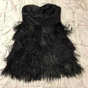 Express Strapless Ostrich Feather Dress Size 6 NWT